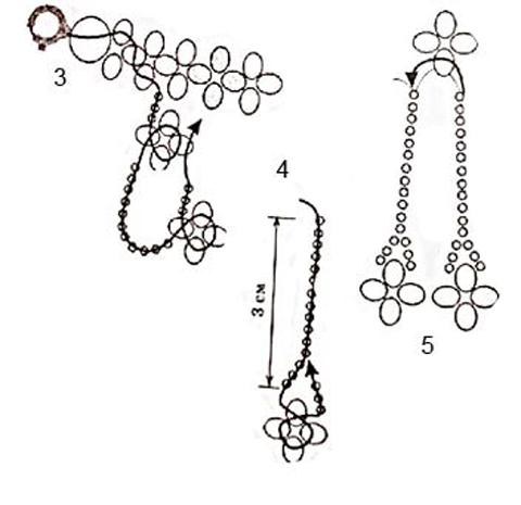 Схема плетения сережек для начинающих
