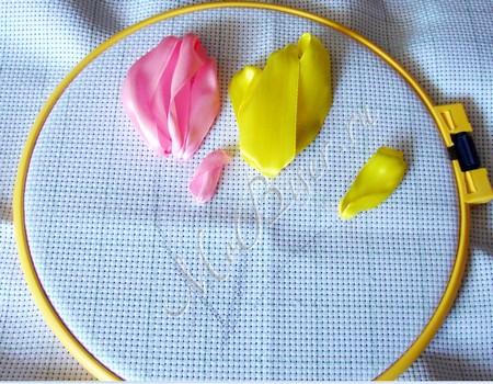 Вышивка лентами стебель тюльпана