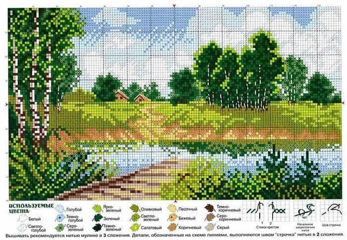 схемы вышивки крестом пейзажи