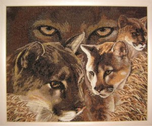 вышивка крестом львов